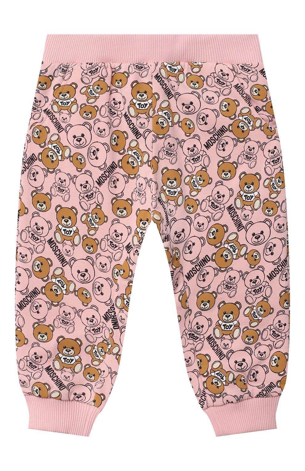 Детские хлопковые джоггеры MOSCHINO розового цвета, арт. MRP02I/LDB46 | Фото 1