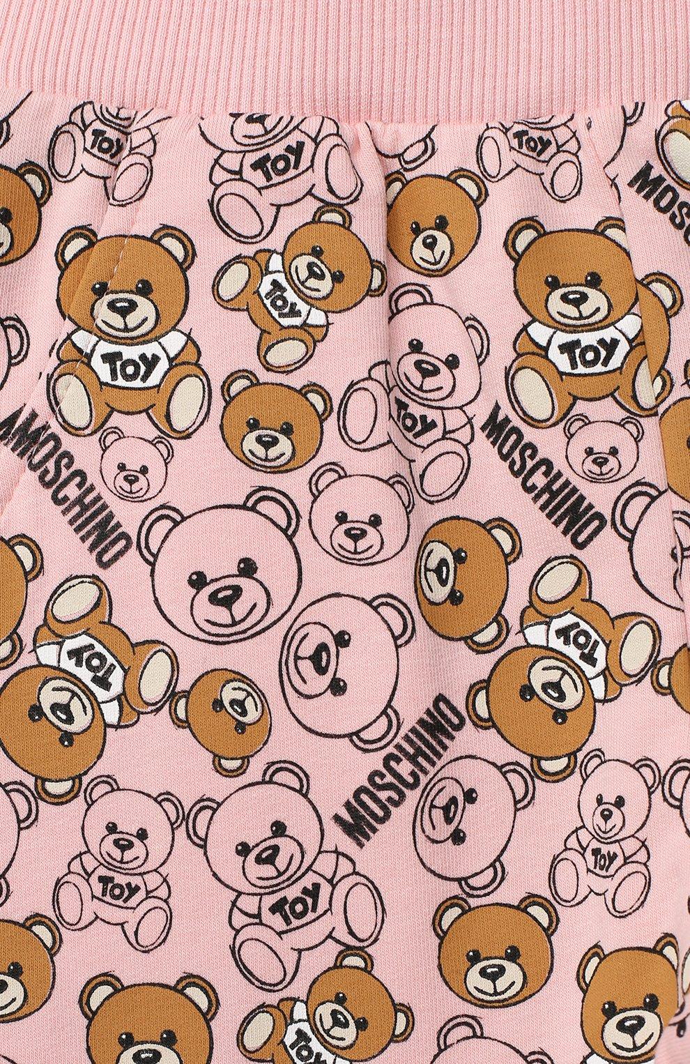 Детские хлопковые джоггеры MOSCHINO розового цвета, арт. MRP02I/LDB46 | Фото 3