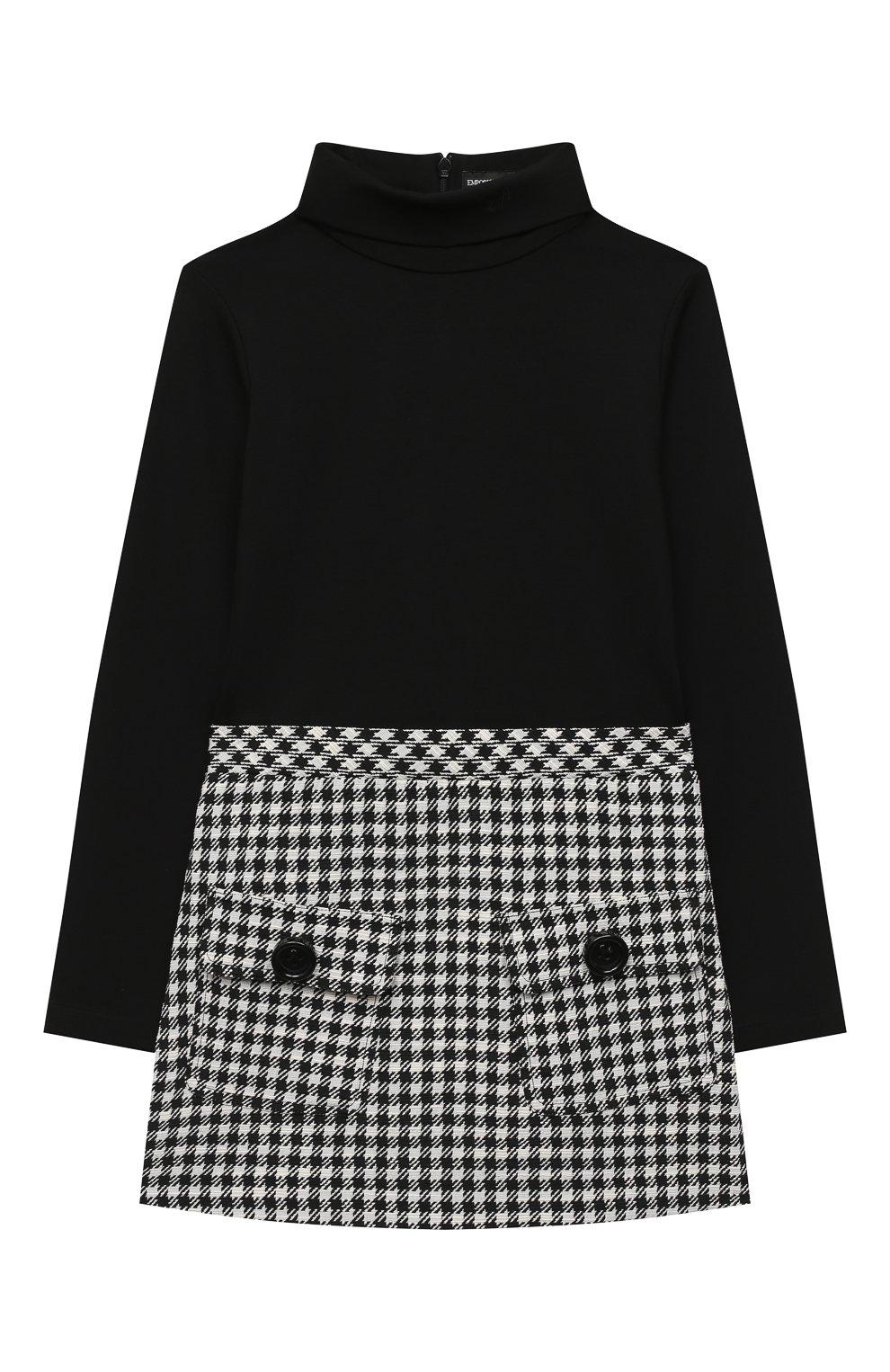 Детское платье EMPORIO ARMANI черно-белого цвета, арт. 6H3A12/2NMMZ   Фото 1 (Рукава: Длинные; Случай: Повседневный; Материал внешний: Синтетический материал, Хлопок)