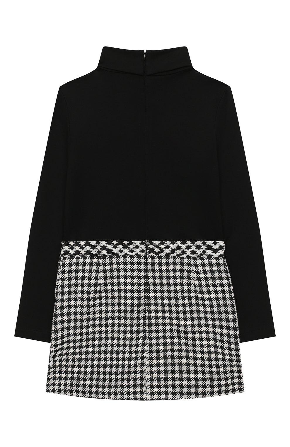 Детское платье EMPORIO ARMANI черно-белого цвета, арт. 6H3A12/2NMMZ   Фото 2 (Рукава: Длинные; Случай: Повседневный; Материал внешний: Синтетический материал, Хлопок)