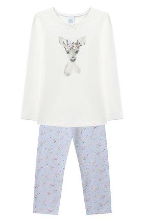 Детская хлопковая пижама SANETTA белого цвета, арт. 232494 | Фото 1