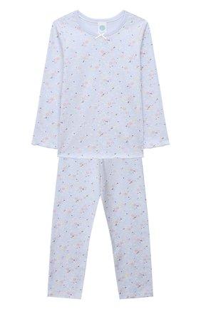 Детская хлопковая пижама SANETTA голубого цвета, арт. 232493 | Фото 1