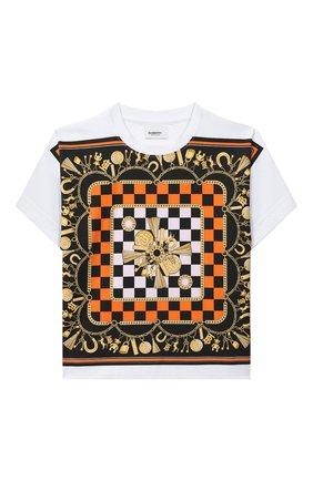 Детская хлопковая футболка BURBERRY белого цвета, арт. 8032828 | Фото 1