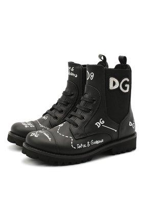 Детские кожаные ботинки DOLCE & GABBANA черного цвета, арт. D10983/AH813/29-36 | Фото 1