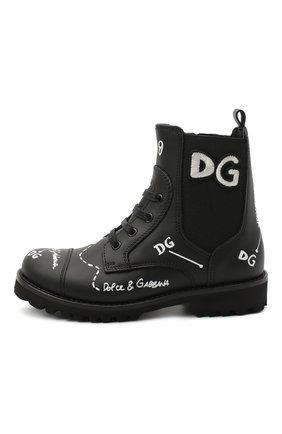 Детские кожаные ботинки DOLCE & GABBANA черного цвета, арт. D10983/AH813/29-36 | Фото 2