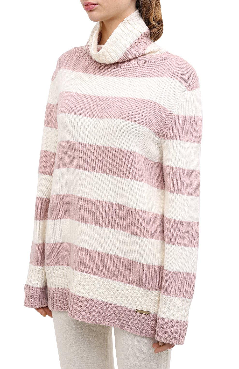 Женский свитер из шерсти и кашемира MANZONI24 светло-розового цвета, арт. 20M727-XR/38-46 | Фото 3