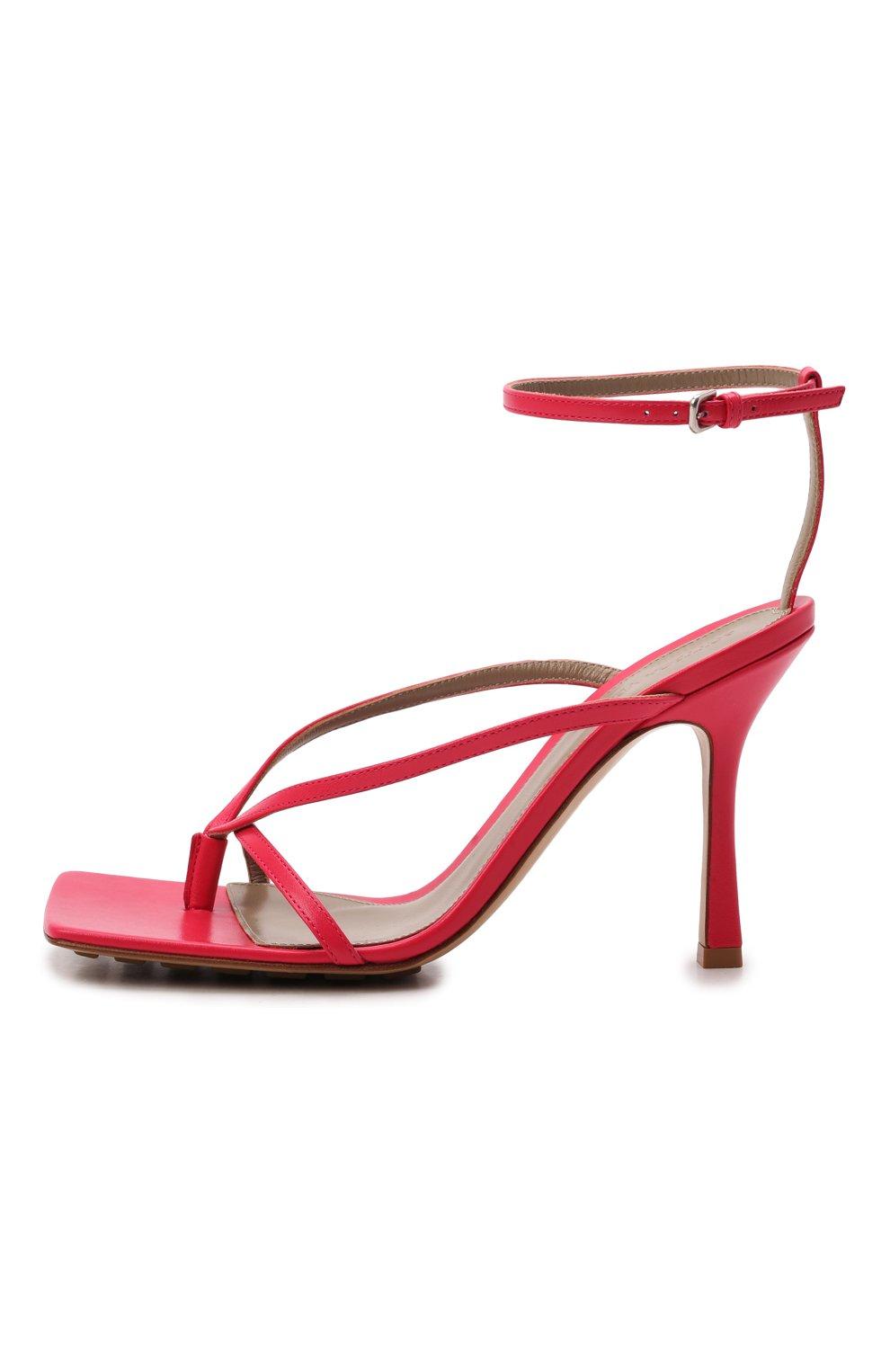 Женские кожаные босоножки the stretch BOTTEGA VENETA розового цвета, арт. 608835/VBSF0 | Фото 3
