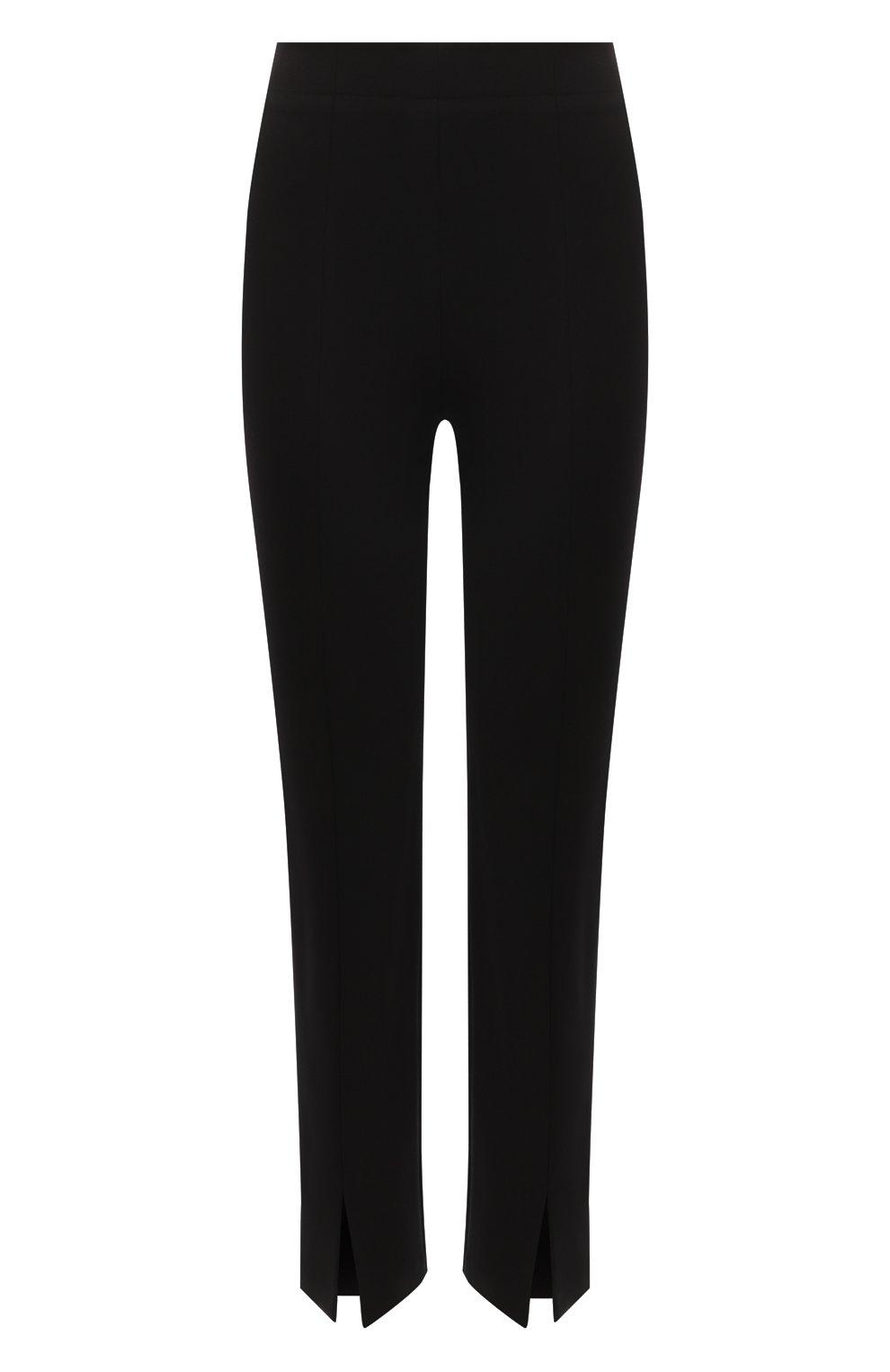Женские брюки TIBI черного цвета, арт. P220BS3170   Фото 1 (Длина (брюки, джинсы): Стандартные; Женское Кросс-КТ: Брюки-одежда; Материал внешний: Синтетический материал, Вискоза; Силуэт Ж (брюки и джинсы): Прямые; Стили: Минимализм)
