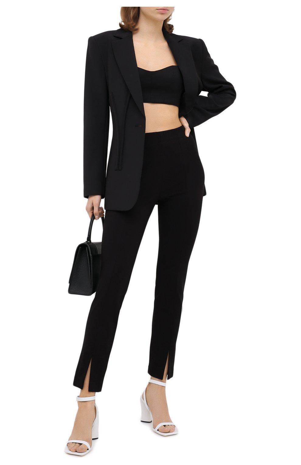 Женские брюки TIBI черного цвета, арт. P220BS3170   Фото 2 (Длина (брюки, джинсы): Стандартные; Женское Кросс-КТ: Брюки-одежда; Материал внешний: Синтетический материал, Вискоза; Силуэт Ж (брюки и джинсы): Прямые; Стили: Минимализм)
