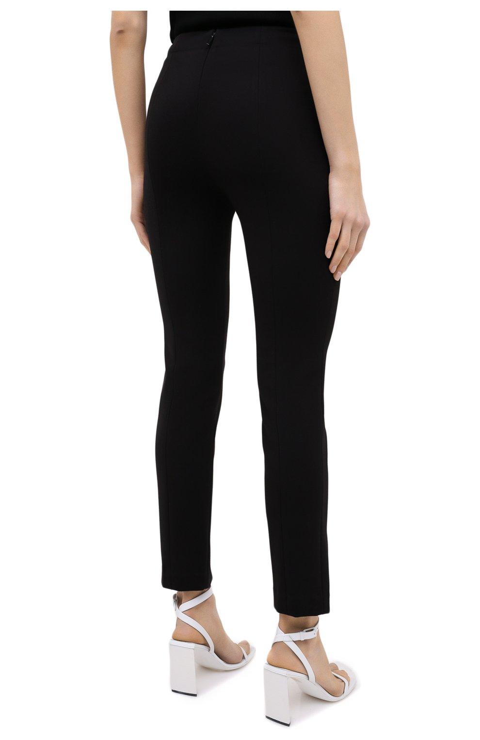 Женские брюки TIBI черного цвета, арт. P220BS3170   Фото 4 (Длина (брюки, джинсы): Стандартные; Женское Кросс-КТ: Брюки-одежда; Материал внешний: Синтетический материал, Вискоза; Силуэт Ж (брюки и джинсы): Прямые; Стили: Минимализм)