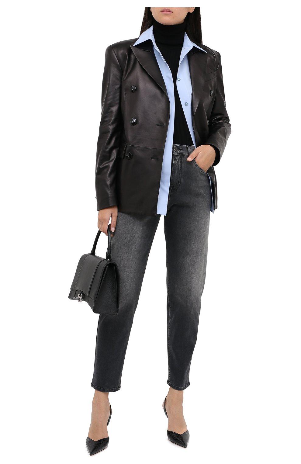 Женский кожаный жакет DROME черного цвета, арт. DPD3079/D400 | Фото 3