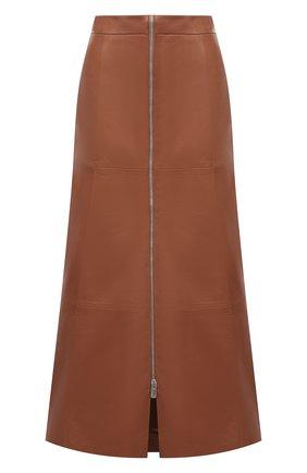 Женская кожаная юбка DROME коричневого цвета, арт. DPD7016/D1098 | Фото 1