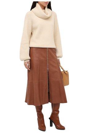 Женская кожаная юбка DROME коричневого цвета, арт. DPD7016/D1098 | Фото 2