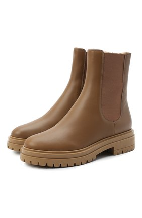 Женские кожаные ботинки GIANVITO ROSSI бежевого цвета, арт. G73465.20G0M.CLYCMCM | Фото 1
