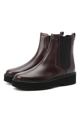 Женские комбинированные ботинки TOD'S бордового цвета, арт. XXW80C0DR700G9 | Фото 1