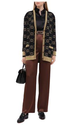 Женские кожаные лоферы paride GUCCI черного цвета, арт. 624316/1W610   Фото 2