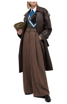 Женские шерстяные брюки DRIES VAN NOTEN коричневого цвета, арт. 202-10940-1041 | Фото 2
