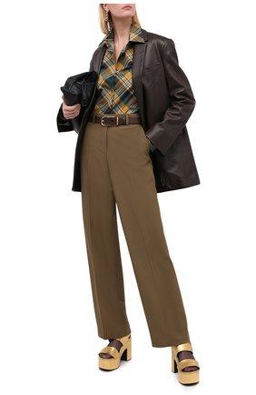 Женские шерстяные брюки DRIES VAN NOTEN хаки цвета, арт. 202-10981-1031 | Фото 2