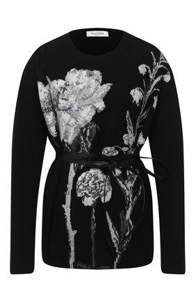 Женский пуловер из шерсти и кашемира VALENTINO черно-белого цвета, арт. UB0KCB635WT | Фото 1