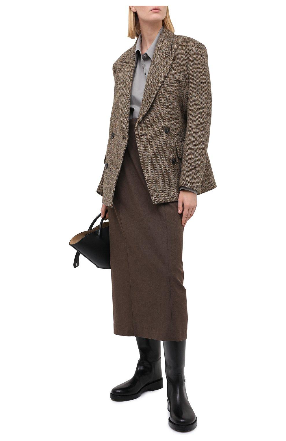 Женская юбка LOW CLASSIC коричневого цвета, арт. L0W20FW_SK04BR | Фото 2 (Материал внешний: Синтетический материал, Вискоза; Женское Кросс-КТ: Юбка-одежда; Стили: Классический; Длина Ж (юбки, платья, шорты): Миди; Материал подклада: Синтетический материал)