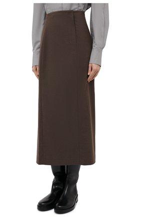 Женская юбка LOW CLASSIC коричневого цвета, арт. L0W20FW_SK04BR | Фото 3 (Материал внешний: Синтетический материал, Вискоза; Женское Кросс-КТ: Юбка-одежда; Стили: Классический; Длина Ж (юбки, платья, шорты): Миди; Материал подклада: Синтетический материал)