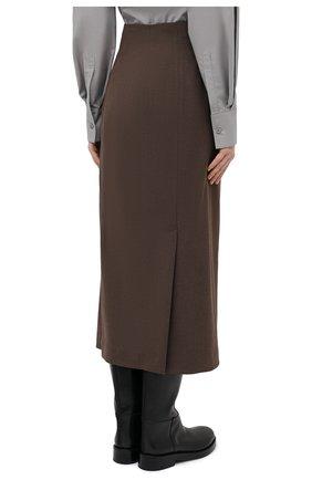 Женская юбка LOW CLASSIC коричневого цвета, арт. L0W20FW_SK04BR | Фото 4 (Материал внешний: Синтетический материал, Вискоза; Женское Кросс-КТ: Юбка-одежда; Стили: Классический; Длина Ж (юбки, платья, шорты): Миди; Материал подклада: Синтетический материал)