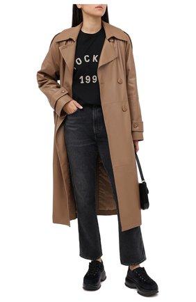 Женская хлопковая футболка TOSKVA черного цвета, арт. BASE t-shirt-MENTS.U000-W21-T2S-900-300   Фото 2