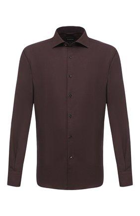 Мужская рубашки из хлопка и кашемира ERMENEGILDO ZEGNA бордового цвета, арт. UVX44/SRF5 | Фото 1