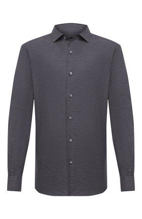 Мужская хлопковая рубашка ERMENEGILDO ZEGNA темно-серого цвета, арт. UVX10/SAF2 | Фото 1