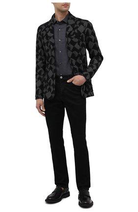 Мужская хлопковая рубашка ERMENEGILDO ZEGNA темно-серого цвета, арт. UVX10/SAF2 | Фото 2