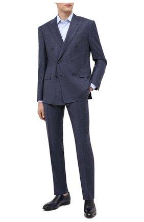 Мужская хлопковая сорочка ERMENEGILDO ZEGNA голубого цвета, арт. 801420/9MS0PA | Фото 2