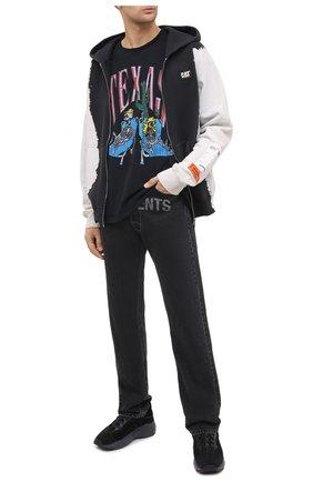 Мужская хлопковая футболка RHUDE черного цвета, арт. RHU08PF20013 | Фото 2