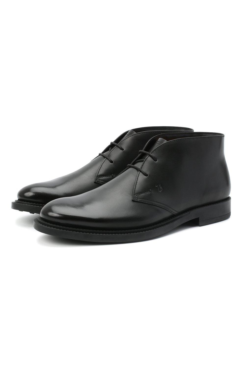 Мужские кожаные ботинки TOD'S черного цвета, арт. XXM62C0DH600LW   Фото 1 (Мужское Кросс-КТ: Ботинки-обувь, Дезерты-обувь; Материал внутренний: Натуральная кожа; Подошва: Плоская)