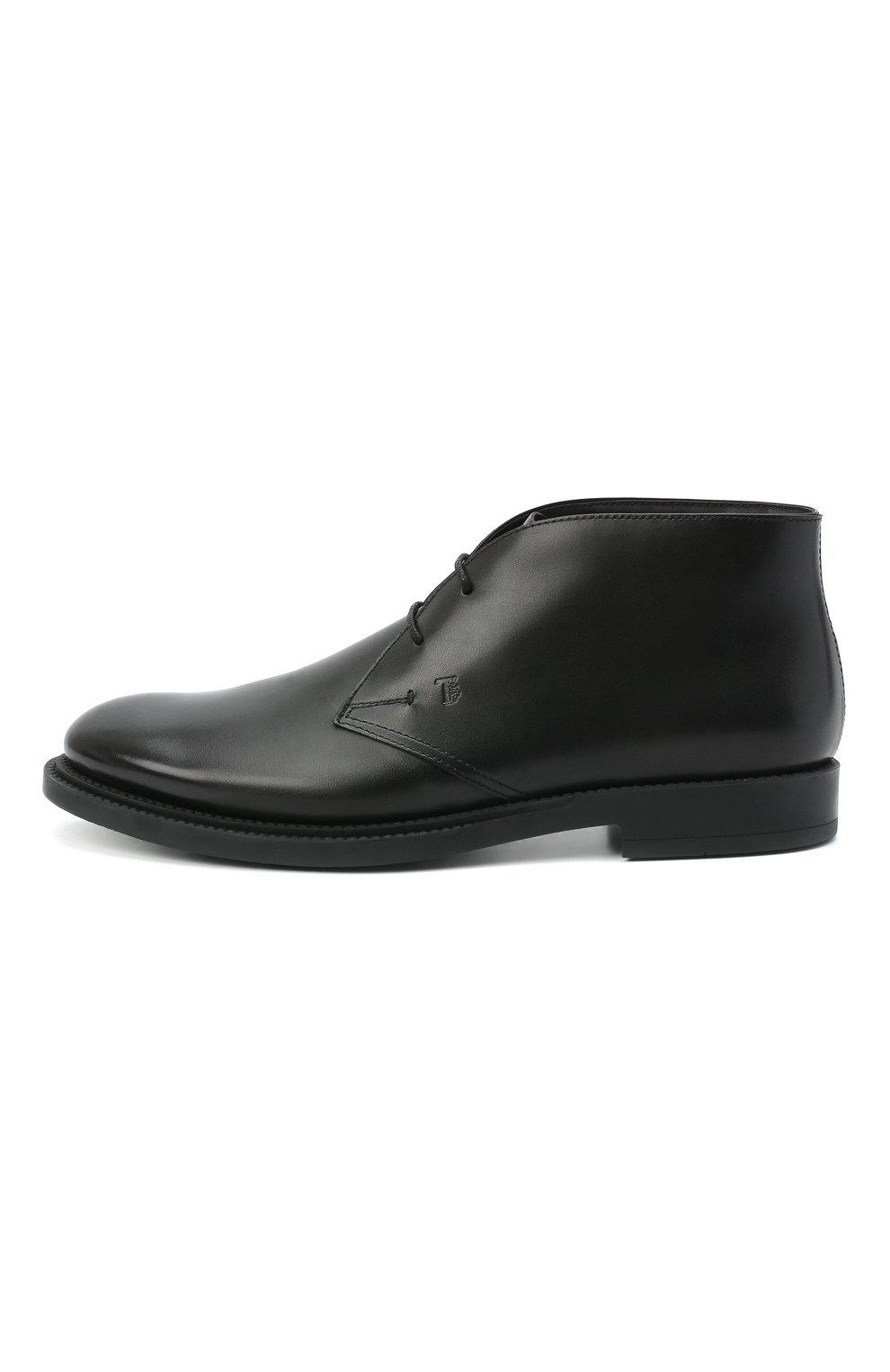 Мужские кожаные ботинки TOD'S черного цвета, арт. XXM62C0DH600LW   Фото 3 (Мужское Кросс-КТ: Ботинки-обувь, Дезерты-обувь; Материал внутренний: Натуральная кожа; Подошва: Плоская)