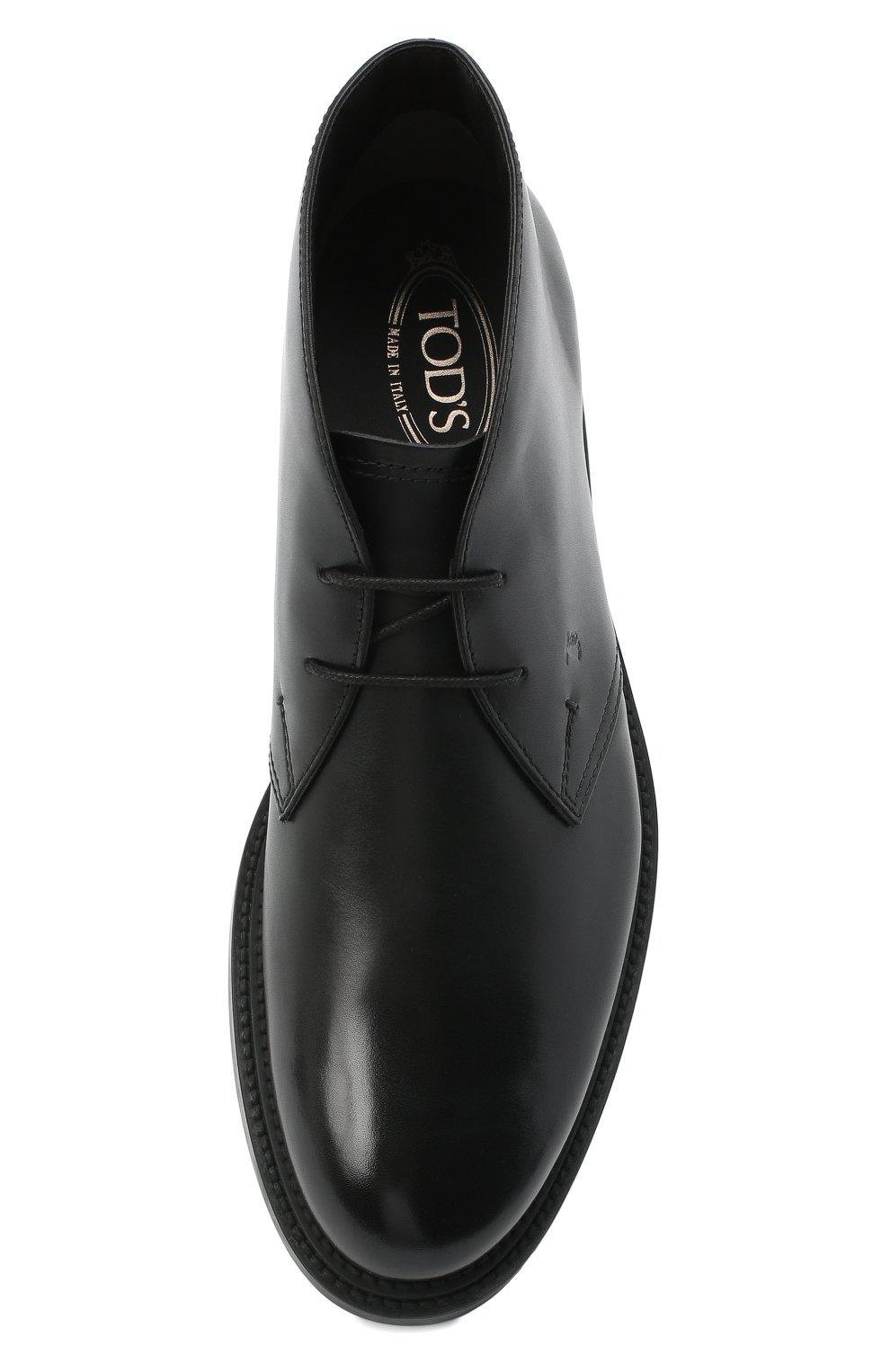 Мужские кожаные ботинки TOD'S черного цвета, арт. XXM62C0DH600LW   Фото 5 (Мужское Кросс-КТ: Ботинки-обувь, Дезерты-обувь; Материал внутренний: Натуральная кожа; Подошва: Плоская)