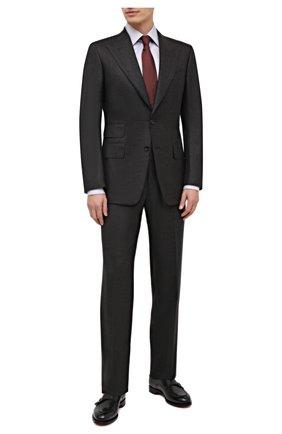 Мужской шерстяной костюм TOM FORD темно-коричневого цвета, арт. 822R31/21AL43 | Фото 1 (Материал внешний: Шерсть; Рукава: Длинные; Костюмы М: Однобортный; Стили: Классический; Материал подклада: Шелк, Купро)