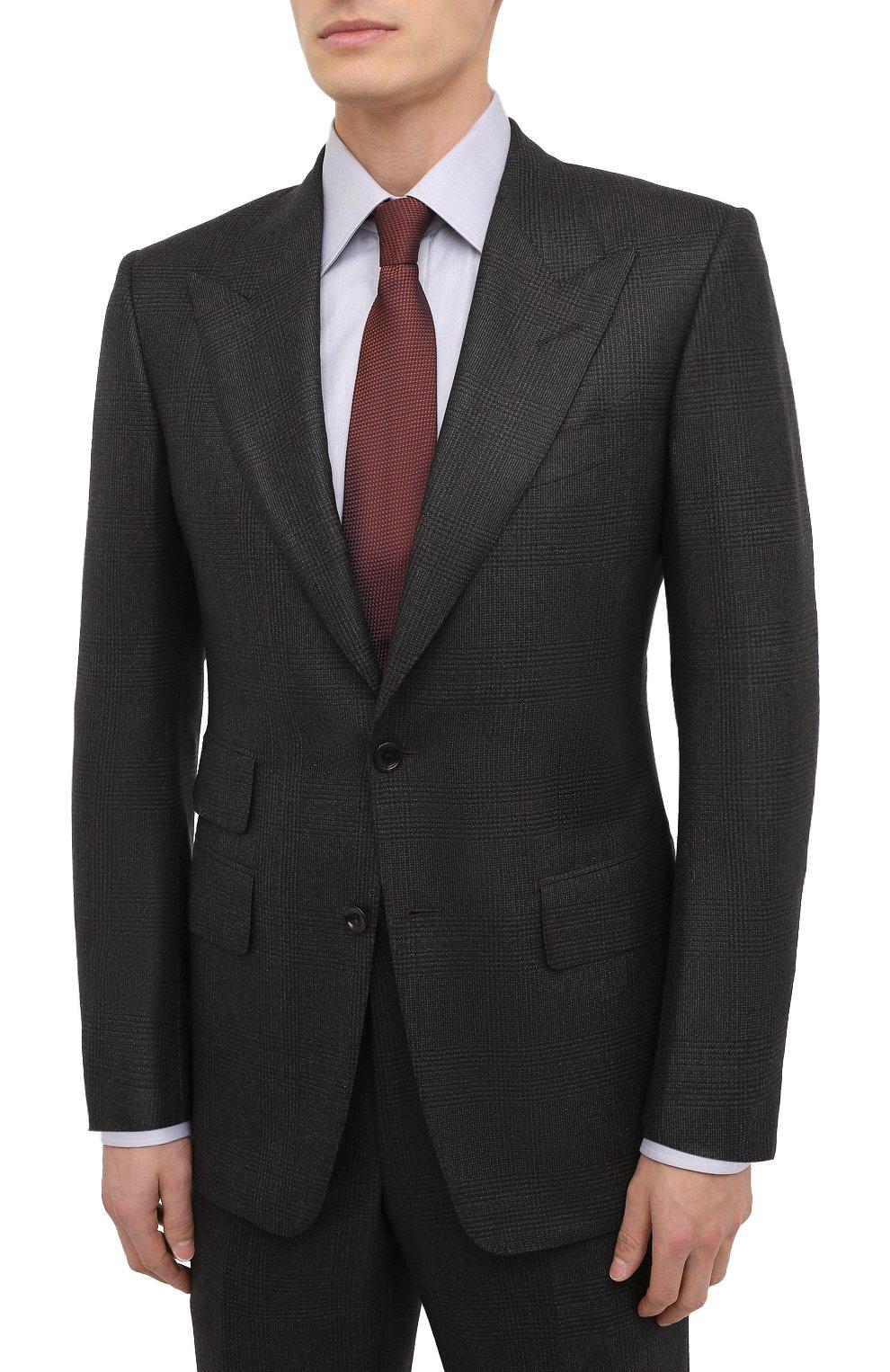 Мужской шерстяной костюм TOM FORD темно-коричневого цвета, арт. 822R31/21AL43 | Фото 2 (Материал внешний: Шерсть; Рукава: Длинные; Костюмы М: Однобортный; Стили: Классический; Материал подклада: Шелк, Купро)