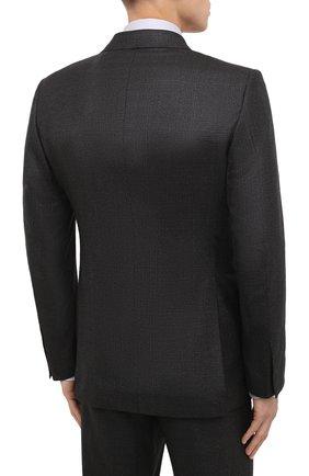 Мужской шерстяной костюм TOM FORD темно-коричневого цвета, арт. 822R31/21AL43 | Фото 3 (Материал внешний: Шерсть; Рукава: Длинные; Костюмы М: Однобортный; Стили: Классический; Материал подклада: Шелк, Купро)