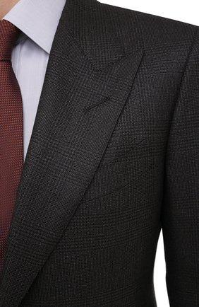 Мужской шерстяной костюм TOM FORD темно-коричневого цвета, арт. 822R31/21AL43 | Фото 6 (Материал внешний: Шерсть; Рукава: Длинные; Костюмы М: Однобортный; Стили: Классический; Материал подклада: Шелк, Купро)