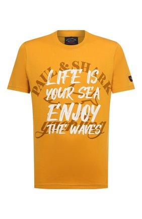 Мужская хлопковая футболка PAUL&SHARK желтого цвета, арт. A20P1692/C00   Фото 1