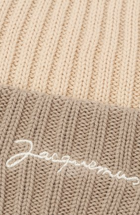 Мужская хлопковая шапка le bonnet JACQUEMUS бежевого цвета, арт. 206AC07/514160   Фото 3
