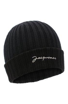 Мужская хлопковая шапка le bonnet JACQUEMUS черного цвета, арт. 206AC07/514960   Фото 1