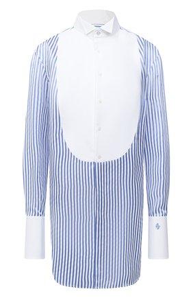 Женская рубашка из вискозы RALPH LAUREN голубого цвета, арт. 290800359   Фото 1 (Рукава: Длинные; Женское Кросс-КТ: Рубашка-одежда; Принт: Полоска, С принтом; Материал внешний: Вискоза; Длина (для топов): Удлиненные; Стили: Кэжуэл)