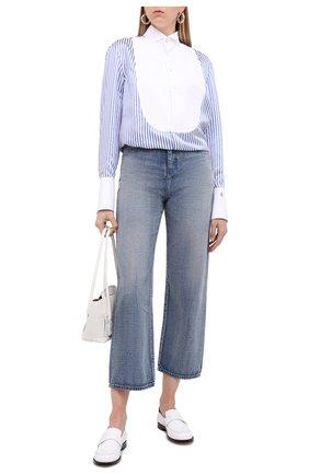 Женская рубашка из вискозы RALPH LAUREN голубого цвета, арт. 290800359   Фото 2 (Рукава: Длинные; Женское Кросс-КТ: Рубашка-одежда; Принт: Полоска, С принтом; Материал внешний: Вискоза; Длина (для топов): Удлиненные; Стили: Кэжуэл)