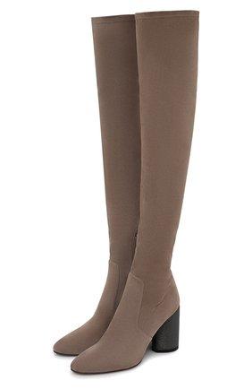 Женские замшевые ботфорты 1946 BRUNELLO CUCINELLI коричневого цвета, арт. MZSSC1946 | Фото 1 (Материал внутренний: Натуральная кожа; Каблук тип: Устойчивый; Подошва: Плоская; Высота голенища: Высокие; Каблук высота: Высокий; Материал внешний: Замша)
