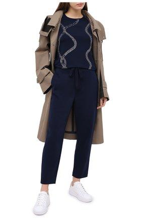 Женские брюки из вискозы ST. JOHN темно-синего цвета, арт. K800002   Фото 2