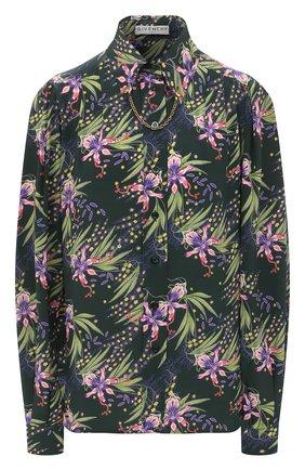 Женская шелковая блузка GIVENCHY зеленого цвета, арт. BW60NJ1367   Фото 1