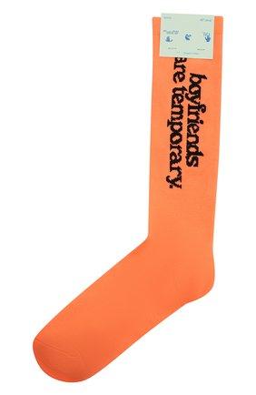 Женские хлопковые носки OFF-WHITE оранжевого цвета, арт. 0WRA003F20KNI0016610   Фото 1
