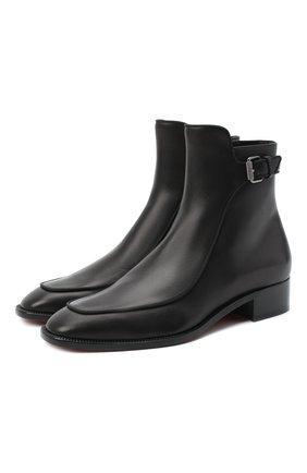 Женские кожаные ботинки ecritoir CHRISTIAN LOUBOUTIN черного цвета, арт. ecritoir flat calf/gg | Фото 1
