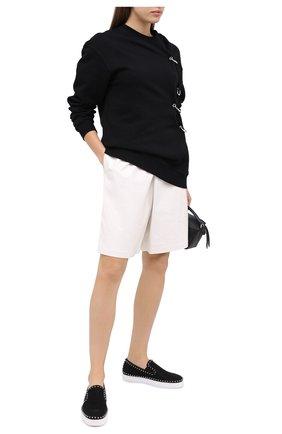 Женские текстильные слипоны pik boat CHRISTIAN LOUBOUTIN черного цвета, арт. pik boat woman flat glitter tennis | Фото 2